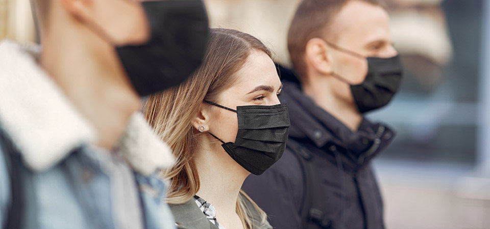 people wearing face masks in public